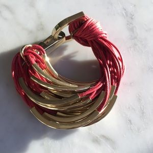 Armani Exchange Red Gold Corded Bracelet Cuff